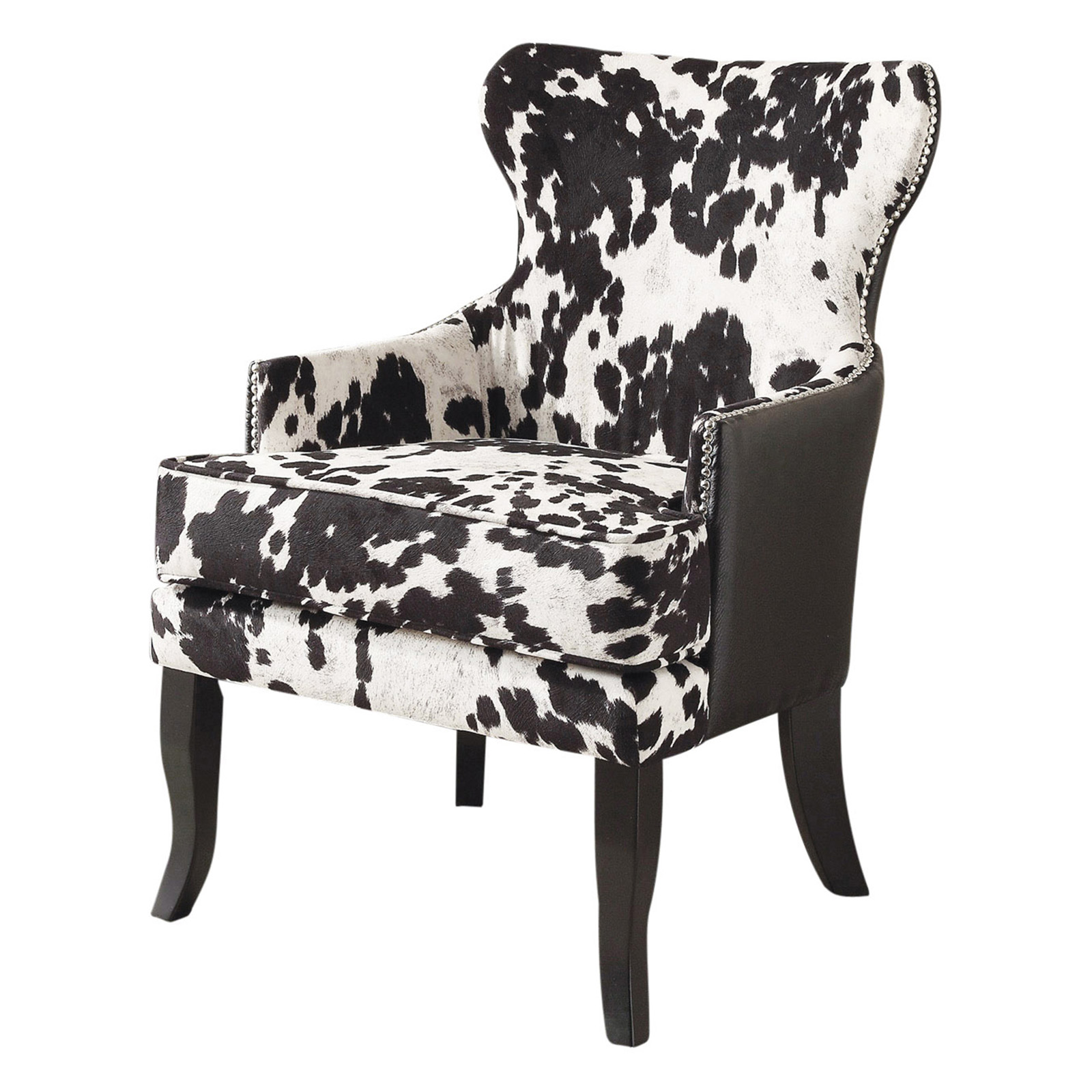 !nspire Faux Cow Hide Accent Chair With Stud Detail