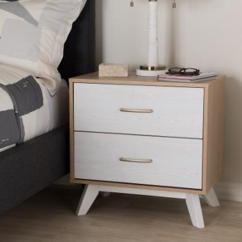 Baxton Studio Helena Mid-Century Modern Natural Oak and Whitewashed Finished Wood 2-Drawer Nightstand