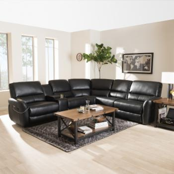 Baxton Studio Amaris Modern and Contemporary Bonded Leather 5-Piece Power Reclining Sectional Sofa with USB Ports