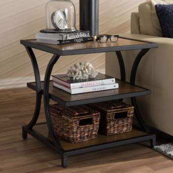 Baxton Studio Lancashire Rustic Industrial Style Wood and Metal End Table