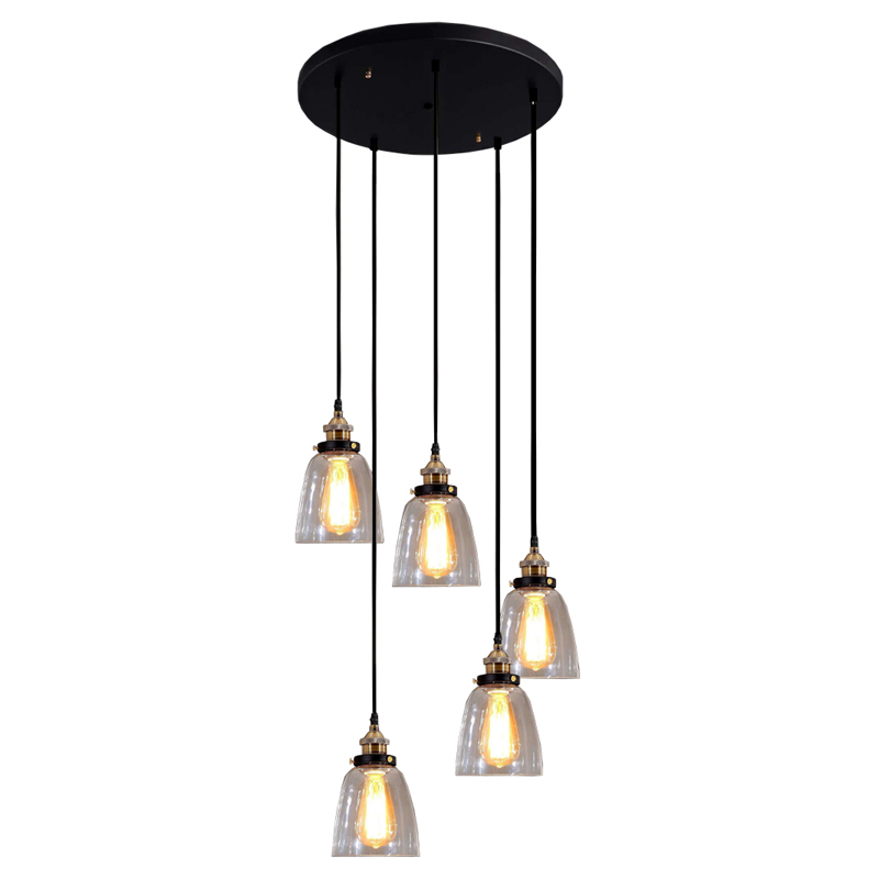 Warehouse Of Tiffany Euna Adjustable Cord Edison LD Pendant - 5 pendant light fixture