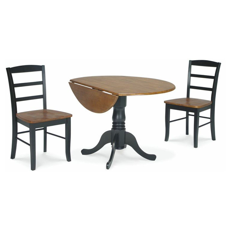International Concepts Hickory Valley 3 Piece Dual Drop Leaf Table With 2  Madrid Chairs   Black