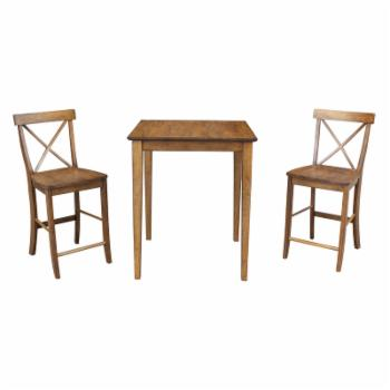 International Concepts Square 3 Piece Counter Height Dining Set with X-Back Chairs