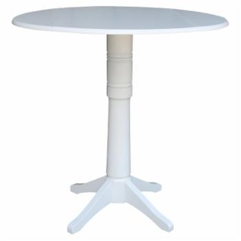 International Concepts 42 in. Round Dual Drop Leaf Pedestal Bar Height Table