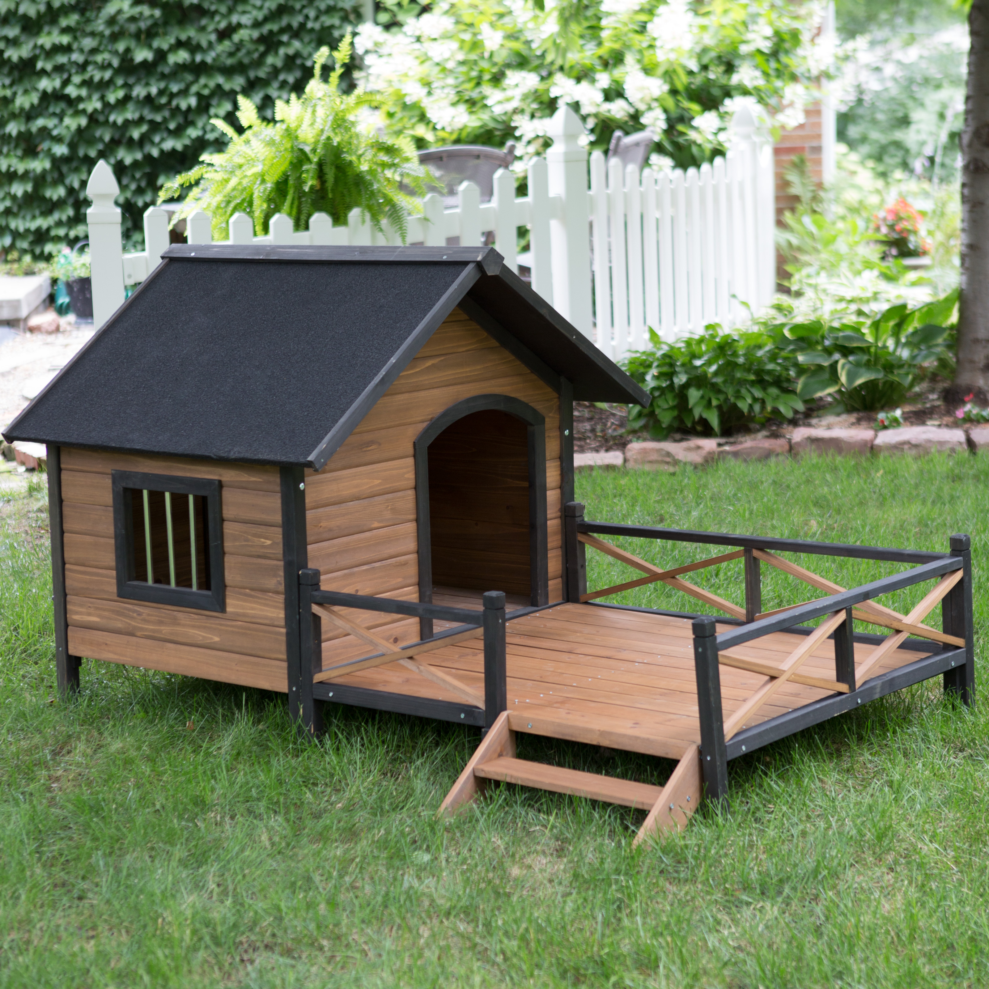 boomer george lodge dog house with porch large hayneedle