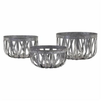 IMAX Arlene Galvanized Baskets - Set of 3
