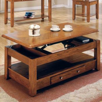 Steve Silver Nelson Lift-Top Cocktail Table with Casters-Oak